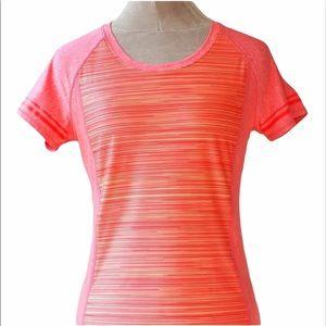 Under Armour striped neon orange short sleeve top